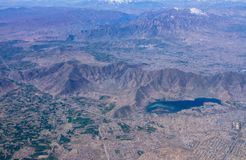 空中风景视图,喀布尔阿富汗 免版税库存照片