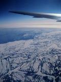 空中飞机冬天 免版税库存照片