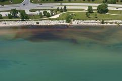 空中饮用的污染来源视图水 库存照片