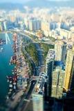 空中香港视图 与摩天大楼的未来派都市风景 库存图片