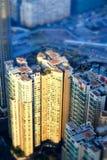 空中香港视图 与摩天大楼的未来派都市风景 免版税库存图片
