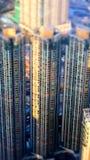 空中香港视图 与摩天大楼的未来派都市风景 图库摄影