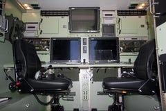 空中驾驶舱飞行员无人通信工具 免版税库存照片