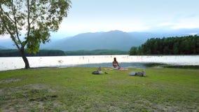 空中高地风景在与湖孤立树和女孩的天空下 股票视频