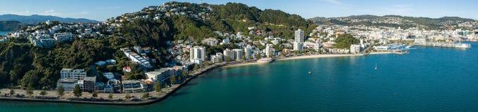 空中,东方海湾全景,新西兰 免版税库存图片