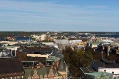 空中,全景视图对Helsink市在芬兰 库存照片