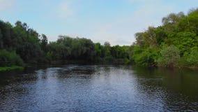 空中-在雕刻它的方式的绿松石颜色河上的降低的通过施普林谷 股票录像