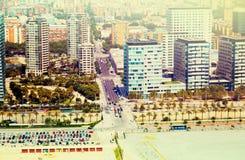 空中巴塞罗那视图 Sant马蒂区摩天大楼  免版税库存照片