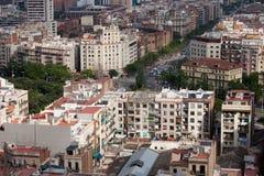 空中巴塞罗那barceloneta都市风景colom哥伦布column de district passeig权利被看到的街道视图 免版税图库摄影