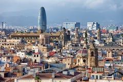 空中巴塞罗那barceloneta都市风景colom哥伦布column de district passeig权利被看到的街道视图 免版税库存图片