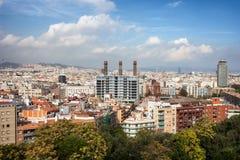 空中巴塞罗那barceloneta都市风景colom哥伦布column de district passeig权利被看到的街道视图 库存照片