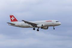a320空中巴士瑞士 库存照片