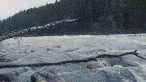空中-降低在雕刻它的方式的绿松石颜色河上通过施普林谷 影视素材