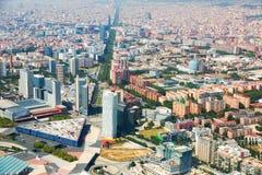 空中agbar巴塞罗那圆的跨线桥左边西班牙塔视图 免版税库存图片