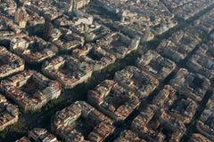 空中agbar巴塞罗那对角familia sagrada tibidabo torre视图 库存照片