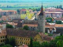 空中aiud城堡罗马尼亚transilvania视图 免版税库存图片