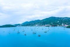 空中amalie海湾夏洛特巡航海岛圣托马斯usvi视图 夏洛特Amalie 免版税库存图片