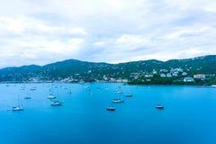 空中amalie海湾夏洛特巡航海岛圣托马斯usvi视图 夏洛特Amalie 库存照片