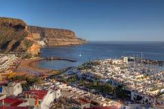 空中canaria de gran mogan puerto西班牙 免版税库存图片