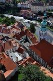 空中cesky krumlov视图 库存图片