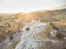 空中Choirokoitia,拉纳卡,塞浦路斯 免版税库存照片