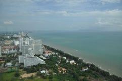 空中chonburi城市pattaya泰国视图 免版税库存图片