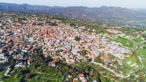 空中Pano Lefkara,拉纳卡,塞浦路斯 图库摄影