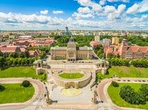 空中szczecin视图 与Haken ` s大阳台和喷泉的Chrobrego堤防 库存照片