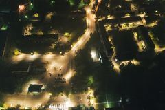 空中Townscape在晚上 库存照片