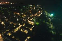 空中Townscape在晚上 免版税库存照片