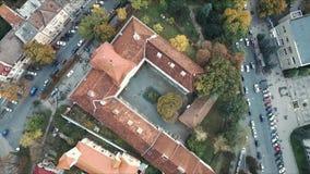 空中wiev :老博物馆Bokshaya在Uzhgorod,乌克兰 股票录像