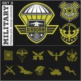 空军队军事象征集合传染媒介设计模板 免版税图库摄影