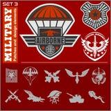 空军队军事象征集合传染媒介设计模板 免版税库存图片