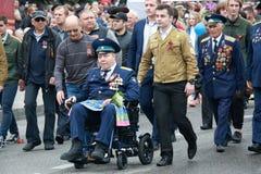 空军队的飞行员 胜利天在Pyatigorsk,俄罗斯 免版税库存照片