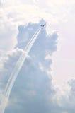 空军队雷鸟飞行表演-四架飞机 库存图片