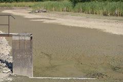 空和被排泄的池塘 天旱和没有水在风景 由湖的水闸 免版税库存图片