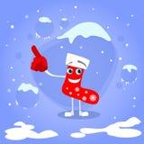 空圣诞节红色袜子点手指的展示 皇族释放例证