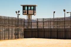 空外部的监狱院子与警卫塔 库存照片