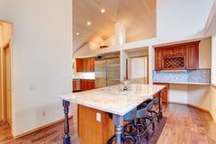 空心肋板计划与厨房的厨房设计 免版税库存图片