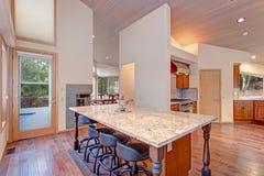 空心肋板计划与厨房的厨房设计 库存图片