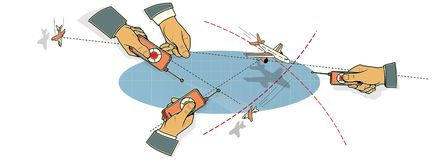 空战 三只人的手有飞机在飞行中控制板的,在峰顶和在路线的云彩和线的中一个弯 向量例证