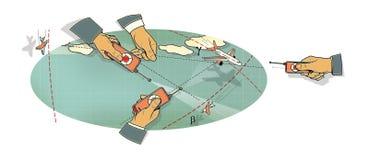 空战 三只人的手有飞机在飞行中控制板的,在峰顶和在路线的云彩和线的中一个弯 库存例证