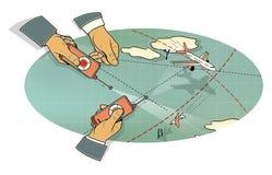 空战 三只人的手有飞机在飞行中控制板的,在峰顶和在路线的云彩和线的中一个弯 皇族释放例证