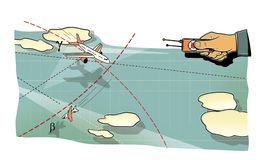 空战 人的手有飞机在飞行中控制板的,在峰顶和在路线的云彩和线的中一个弯 上升  向量例证
