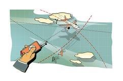空战 人的手有飞机在飞行中控制板的,在峰顶和在路线的云彩和线的中一个弯 上升  库存例证