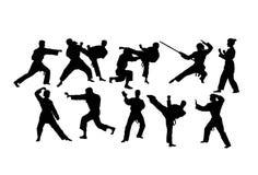 空手道体育活动剪影 向量例证