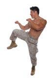 空手道姿态的肌肉海军陆战队员在统一 免版税库存照片