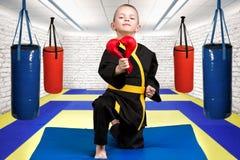 空手道的男孩运动员给心脏由手套做成,爱,同情的声明 在席子的空手道在健身房 图库摄影