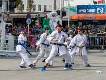 空手道部分的参加者显示他们的技能在Adloyada狂欢节在纳哈里亚,以色列 免版税库存图片
