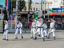 空手道部分的参加者显示他们的技能在Adloyada狂欢节在纳哈里亚,以色列 库存图片